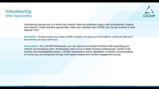 CSCMP New Member Webinar - Maximizing Your CSCMP Membership
